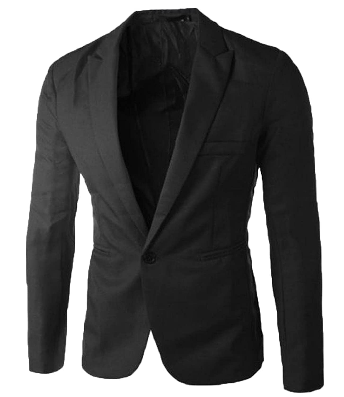 Sheng Xi Men's Stylish Casual Vivid Solid Slim Single Button Blazer