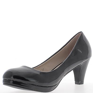 93eb5634ac81 ChaussMoi Varnished Black Classic Pumps to Small Heels 6.5 cm Small Platform  - 8