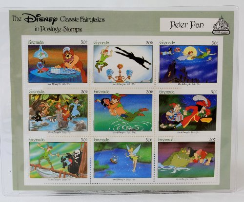 """Disney Classic Fairytales in Postage Stamps """"Peter Pan"""" 9 Piece Grenada Stamp Sheet (30 Cents Each)"""