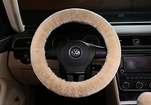 Car Classic Hubcaps - Winter Steering Wheel Cover,Silence Shopping Pure Wool Plush Stretch- On Vehicle Steering Wheel Cover Classic Car Wheel Protector (Beige Short)