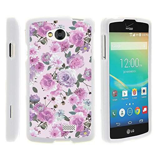 LG Tribute Phone Case, Slim Fit Snap On Cover with Unique, Customized Design for LG Tribute LS660, LG Transpyre VS810PP, LG Optimus F60 (Verizon, Virgin Mobile, MetroPCS) from MINITURTLE | Includes Clear Screen Protector and Stylus Pen - Pink Purple Flower (Lg Case Transpyre Phone)