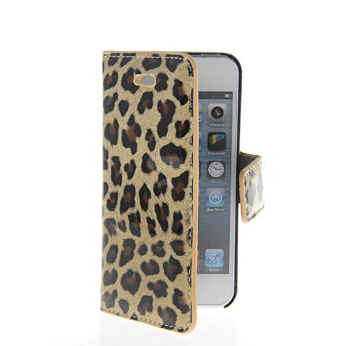 MOONCASE Leopard Etui Housse Cuir Portefeuille Case Cover Pour Apple iPhone 5 5G 5S Brun