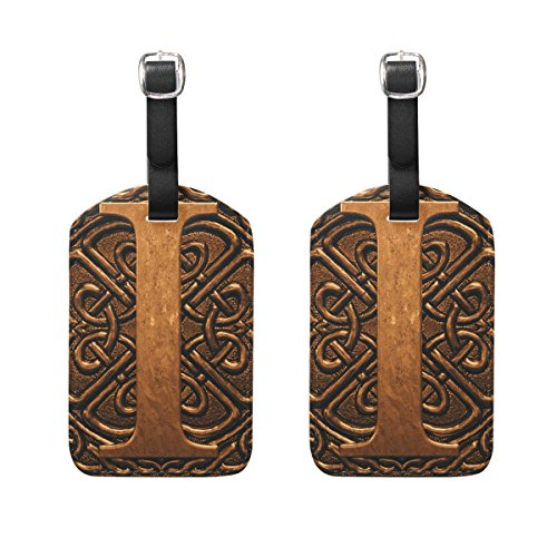Set of 2 Luggage Tags Vintage 3D Letter I Suitcase Labels Travel Accessories ()