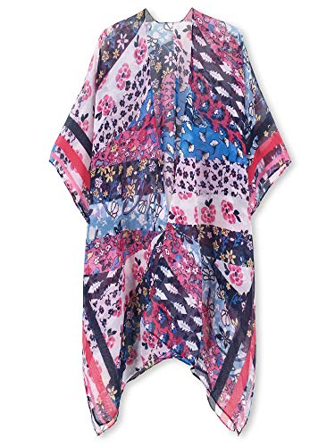 Moss Rose Women's Beach Cover up Swimsuit Kimono Cardigan with Bohemian Floral Print (Colorful Nomad)