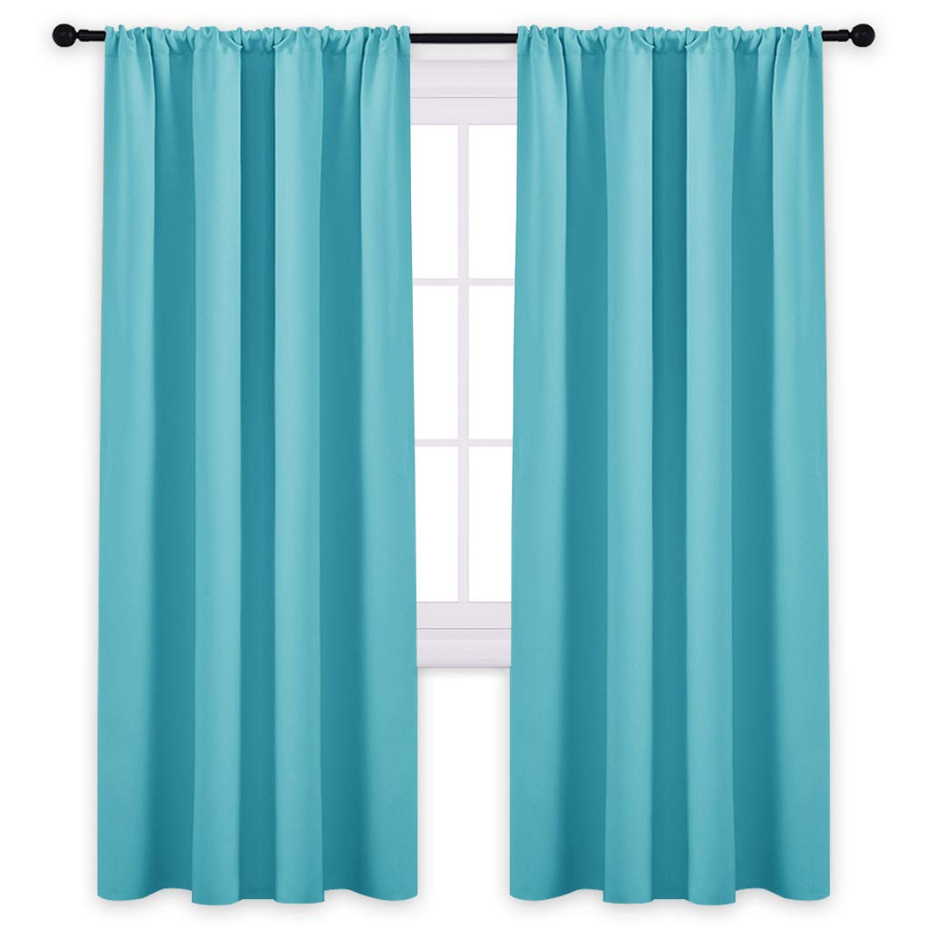 PONY DANCE Blackout Curtains 72'' - Light Blocking Curtain Panels Thermal Insulated Solid Rod Pocket Window Drapes for Living Room & Dining Room, W 42 in by L 72 in, Light Blue, 2 Pieces