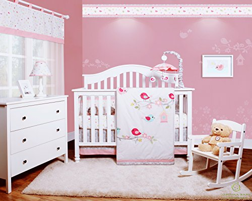 GEENNY OptimaBaby Happy Enchanted Birds 6 Piece Baby Girl Nursery Crib Bedding Set