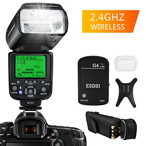 Camera Flash for Canon,DSLR Camera,E-TTL 1/8000 HSS GN58,Multi,ESDDI Wireless Camera Flash Set Include 2.4G Wireless Flash Trigger,Cold Shoe Base Bracket and Accessories