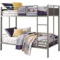 Homelegance B2033-1 Twin/Twin Folding Metal Bunk Bed, Grey
