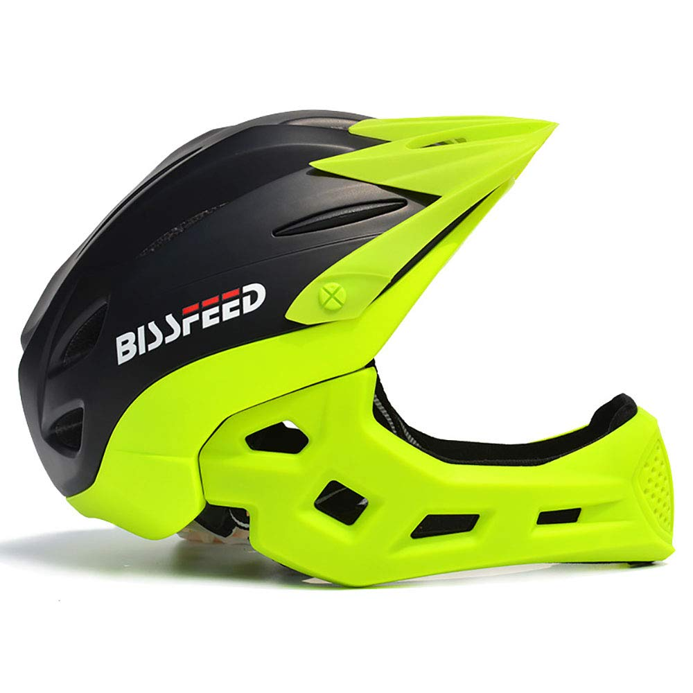 Blackgreen ZHYY Bike Helmet kid Full Covered Face predection Detachable Suitable for Balance Bike Cycling Motocross MTV BMX Breathable Safety Multicolor,blueegreen