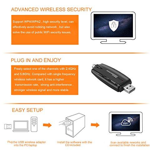 iFun4U Wireless USB WiFi Bluetooth Adapter, WiFi Network Adapter LAN