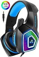 ヘッドセット PS4 ゲーミングヘッドセット Micolindun 虹色LED V1