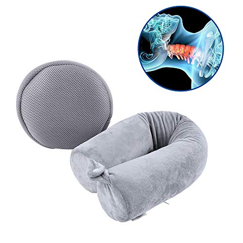 Cotton World Li Neck Pillow Travel Home, Portable Head Cervical Support Rest Cussion Twist Adjustable Bendable Memory Foam Roll Pillow Flight/Road Trips, Office Nap, Camping - (Cervical Support Roll)