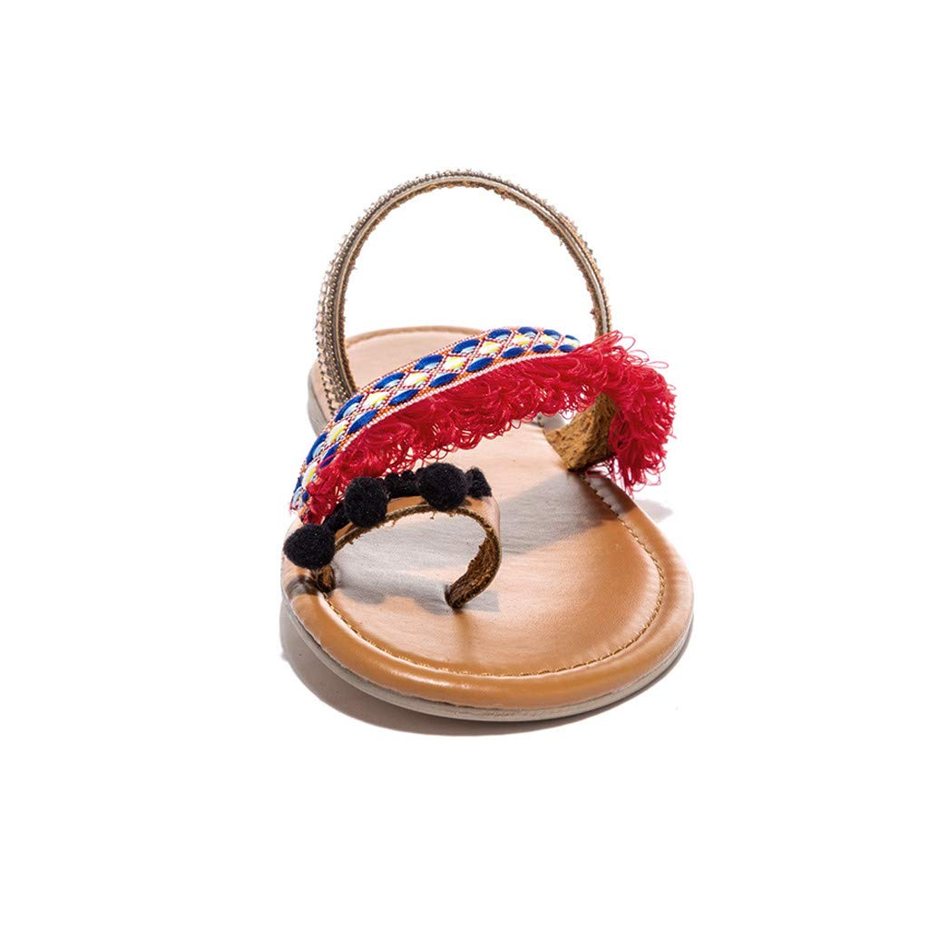 Naladoo Flip Flops Slippers for Women Clip Toe Sandals Ethnic Style Beach Shoes