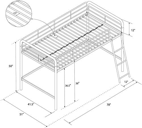 dhp junior loft bed frame with ladder, multifunctional space-saving design, black DHP Junior Loft Bed Frame with Ladder, Multifunctional Space-Saving Design, Black 510HvV5cSmL