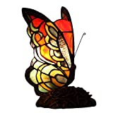 Bieye L10525 7-inches Butterfly Tiffany Style Stained Glass Accent Table Lamp - 9-inch Tall