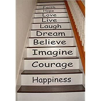 amazoncom inspirational quotes stair riser decals stair