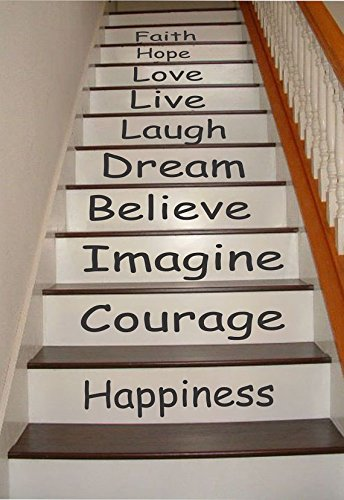 Inspirational Quotes Stair Riser Decals, Stair Stickers, Wall Decals