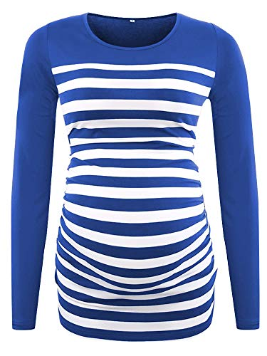 CareGabi Maternity Top Women's Short Sleeve Long Sleeve Round Neck Striped Color Block Pregnancy Shirts