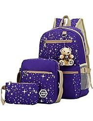 Mily 3 Pcs Galaxy Star Canvas Backpack Set School Book Bag Set