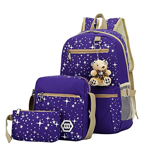 Amily 3 Pieces Canvas Backpack Set Galaxy Star Patterned Bookbag Laptop School Backpack for Girls ()