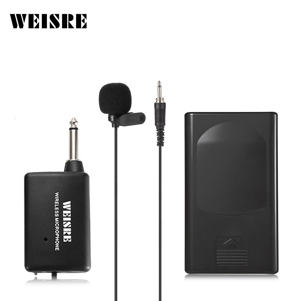 Lavalier Lapel Microphone, Clip on Mic Battery-Powered Omnidirectional Condenser Collar Microphone Wireless Transmitter Perfect for Broadcasting, Teaching, Recording Mudent DM - 3308A