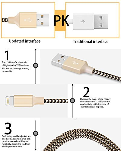 iPhone Charging Cables, 2 Pack 6Ft Elktry Fast Speed Nylon Braided Charger Cord Fast Sync & Data ...