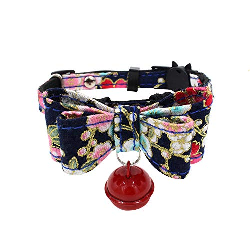 Suma-ma Promotion XS-M Flexible Vintage Floral Dog Collars Bowtie Necklace with Bell - Black Pink Red Fashion Pet Puppy Cat Collars