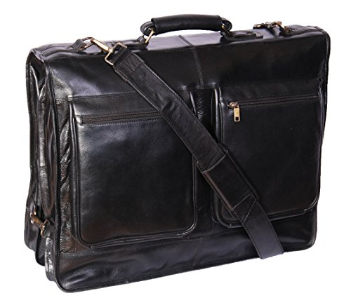Real Leather Suit Dress Carrier Travel Weekend Garment Clothing Bag Canico Black by House of Leather