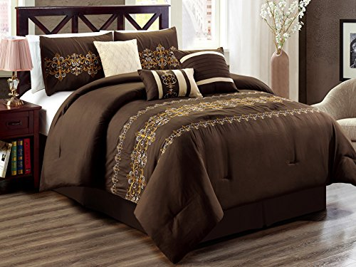 7-Pc Regan Royal Damask Scroll Fleur-de-lis Embroidery Comforter Set Brown Beige Bronze Pewter Queen Fleur De Lis Station