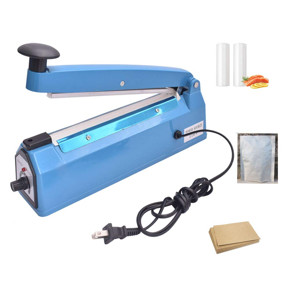 iHotools™ 8''(200mm) Impulse Manual Hand Bag Sealer Heat Sealing Machine for Plastics Bags PE bags with Extra Replacement Element Grip Blue