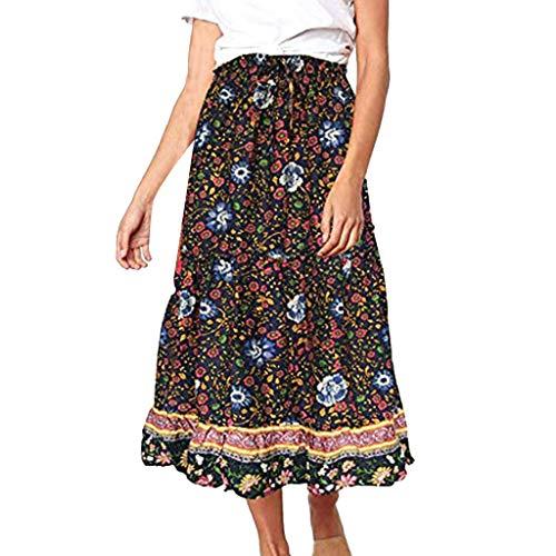 - VEZAD Women's Boho Floral Print Elastic High Waist Pleated A Line Midi Skirt