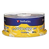 VER94834 - Verbatim DVD+RW 4.7GB 4X with Branded Surface - 30pk Spindle