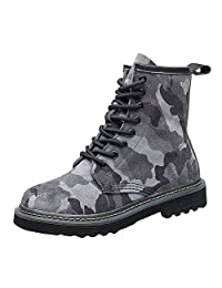 VOCOSI Low Heels Ankle Boots Shoes,Camouflage Print Military Leather Women's Combat Booties