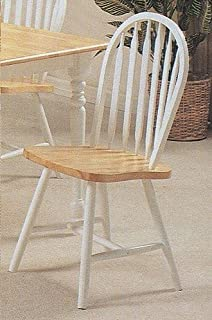Nice Set Of 4 Natural U0026 White Finish Arrow Back Windsor Wood Dining Chairs