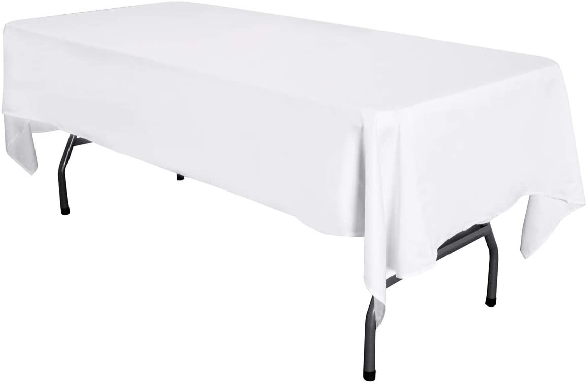LOVWY 58 x 126 Inch Rectangular White Tablecloth Satin Seamless Double Hemmed for Wedding Home Party Tea Party Birthday Graduation Engagement (Rectangular 58x126, White)