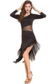 Jonact Women Latin Dresses Black Mesh Ballroom Dance Dress Fringed Long Sleeve Round Collar Dancing Costumes