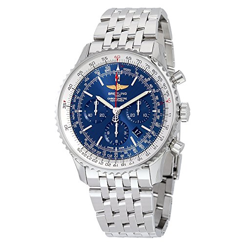 Breitling Navitimer 01 46MM Chronograph Aurora Blue Dial Stainless Steel Mens Watch AB012721-C889SS
