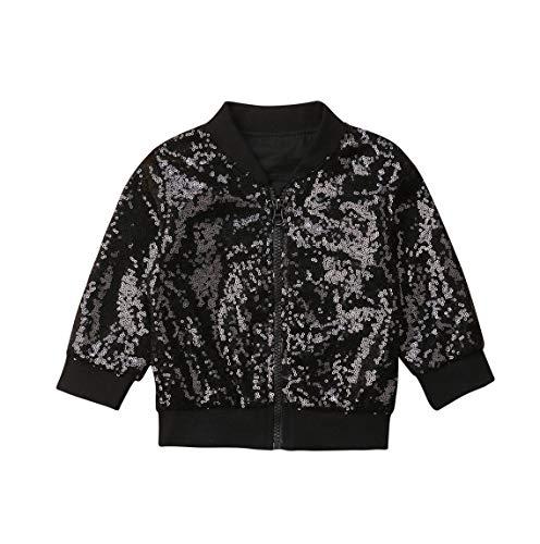 (rechange Toddler Kid Baby Girl Long Sleeve Front Zip Sequin Bomber Jacket Outwear Coat (4-5T, Black))