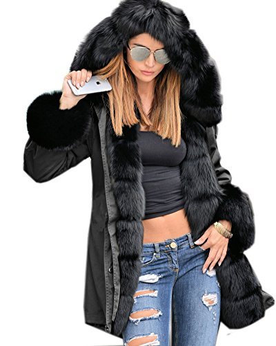Roiii Women Thicken Warm Winter Coat Hood Parka Overcoat Long Jacket Outwear,Black,Large