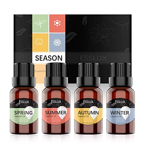 Essential Oil Blends, ESSLUX SEASON Essential Oils Set for Diffuser & Candle Making, Soothing and Natural Fragrance, 4x15ml