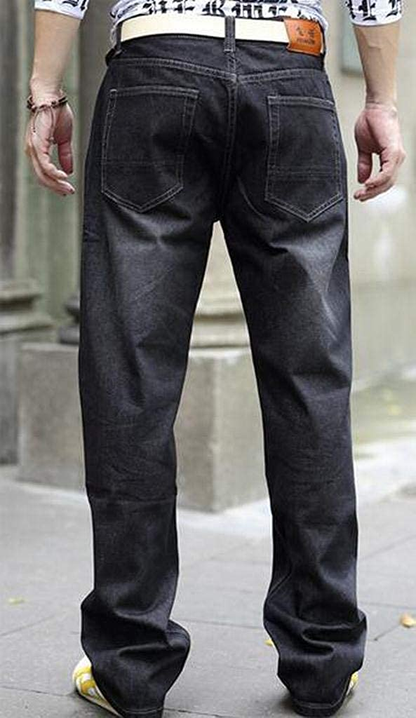 Fubotevic Men Casual Loose Plus Size Straight Leg Washed Pure Color Denim Jeans Pants