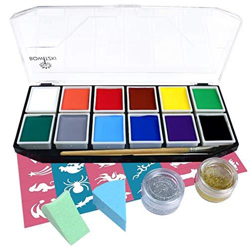 Face Paint Kit, Bowitzki 12 Vibrant Colors