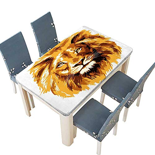 PINAFORE 100% Polyester Luxury Tablecloth of The Lion King Biggest Cat in Africa Icon in Tropics Theme Orange White Resistant and Waterproof Tablecloths W49 x L88.5 INCH (Elastic Edge)