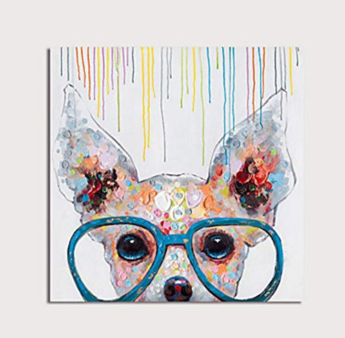 Hand Painted Kids Murals - ZLYYH Hand Painted Oil Paintings On Canvas,Abstract Animal Painting,Simple and Colorful Cute Glasses Dog,Home Decor,Wall Art Picture for Living Room Bedroom Kid's Room Porch Corridor Mural,40×40Cm