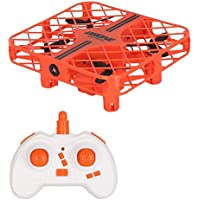 Mini RC UFO Drone plane,JT Drone 2.4G 4CH 6 Axis Gyro Headless Mode RTF RC Aircraft Drone with Led lights,Auto Fly Back,Altitude Hold Selfie Drone for Kids-Orange
