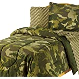 Camouflage Grid Boys Reversible Twin Comforter Set (5 Piece Bed In A Bag)