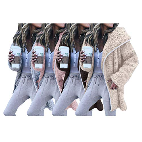 S Tops Chaud Coupe Longue Gris Abricot Rose Fleece Manteaux En Hiver Revers Peluche Femmes Cardigan Blouson Vrac Décontractée vent Manche xl Veste Café Faux EqBZx