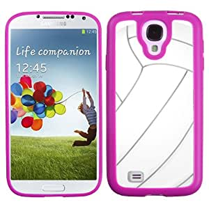One Tough Shield ® Flexible/Rigid Hybrid Phone Case (Pink Bezel) for Samsung Galaxy S4 S-IV - (Volleyball)