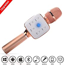 Mifanstech Portable Wireless Karaoke Microphone Bluetooth Karaoke MIC Machine Handheld Mini Speaker for Home KTV for Apple iPhone Android Smartphone/PC(Rose Gold)