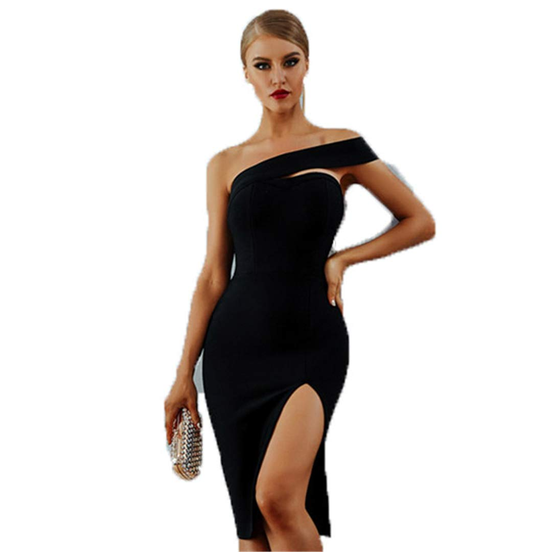 Black B Age Dress Women Summer Sexy Elegant White Black One Shoulder Celebrity Party Dresses